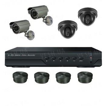 Супербюджетный 4-х камерный комплект видеонаблюдения (2 внутренних, 2 уличных камеры)