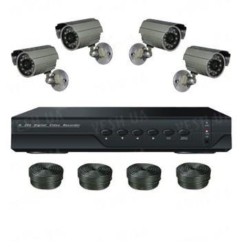 Супербюджетный 4-х камерный комплект наружного видеонаблюдения (4 уличных камеры)