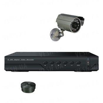 Супербюджетный 1-но камерный готовый комплект уличного видеонаблюдения для самостоятельной установки