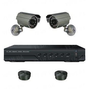 Супербюджетный 2-х камерный готовый комплект уличного видеонаблюдения для самостоятельной установки (2 уличных камеры)