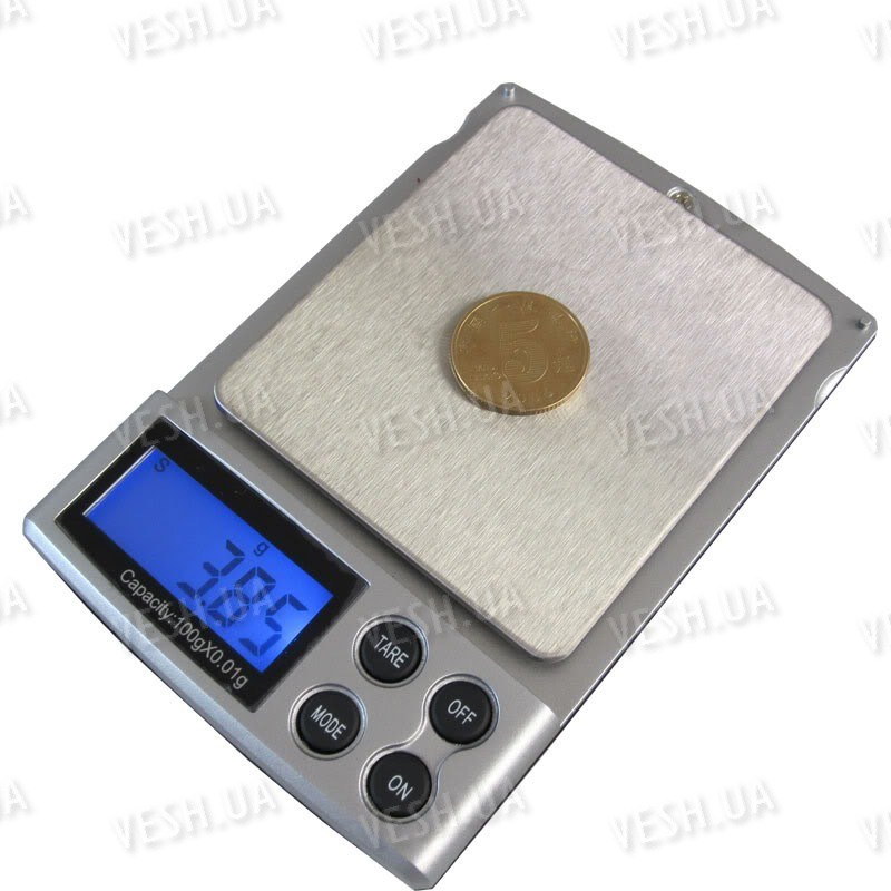 Высокоточные портативные карманные электронные ювелирные мини весы с дискретой 0.01 грамма и макс. весом 100 грамм (мод. SW-100/001)