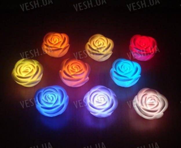7-ми цветный светодиодный LED светильник в виде бутона розы (3 штуки)