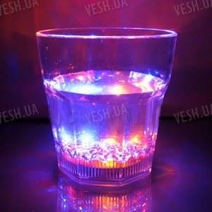 Светодиодный стеклянный стакан с автоматически переливающейся 4-х цветной LED подсветкой