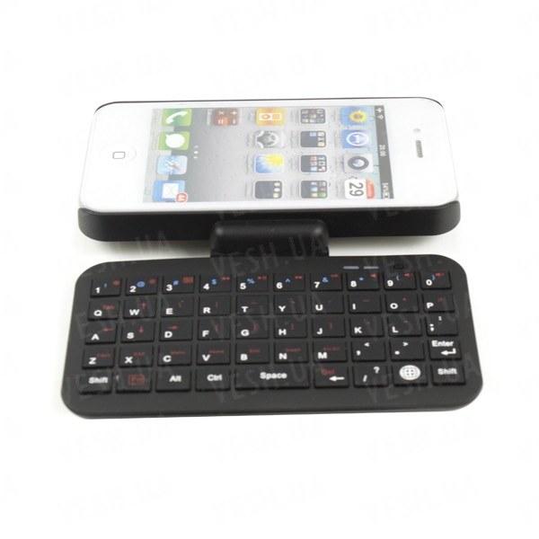 Беспроводная чёрная WiFi мини клавиатура на 49 клавиш для iPhone 4 4S 4G 4GS  в комплекте с чехлом и технологией Bluetooth 3.0