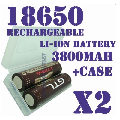 Аккумулятор 18650 3.7В 3800мАч GTL (2шт. аккумуляторов+кейс в подарок)