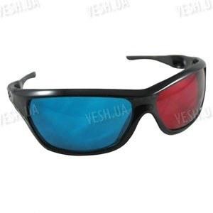 Красно - синие анаглифные 3D стерео очки в пластиковой оправе с дырочками в дужках (модель 3DM)