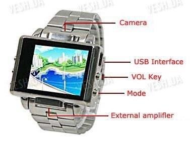 Мультимедийные многофункциональные часы с видеокамерой, MP3/MP4 плеером LCD экраном и 4 Gb памяти
