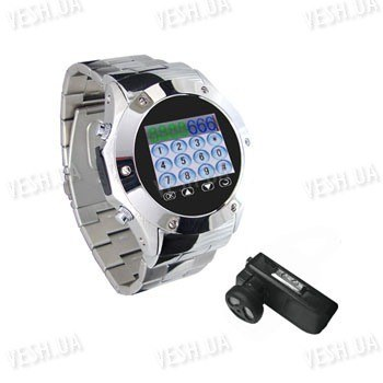 Металлические GSM часы - мобильный телефон с 1.5 дюймовым сенсорным дисплеем, bluetooth, 1.3 Mega Pixels камерой и MP3/MP4 плеером (модель MQ888A)