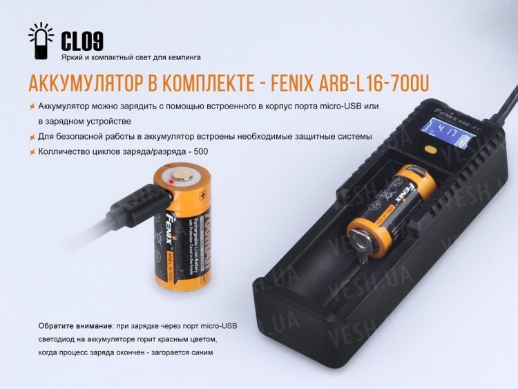 Фонарь Fenix CL09 (черный, серый)