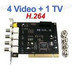 4-х канальная H.264 компьютерная PCI плата видеозахвата для CCTV камер с 1 звуковым каналом/ТВ выходом (25 fps)