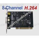 8-ми канальная H.264 компьютерная PCI плата видеозахвата для CCTV камер + 4 звуковых канала + ТВ выход (100 fps)