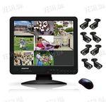 Готовый 8-ми камерный DIY комплект проводного видеонаблюдения с LCD COMBO DVR регистратором-монитором для самостоятельной установки (8 уличных камер) (мод. KT1508L KIT 5)