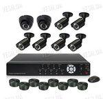 Готовый 8-ми камерный DIY комплект проводного видеонаблюдения для самостоятельной установки (6 уличных камер + 2 внутренних купольных камеры) (мод. KT7608AC KIT 4)
