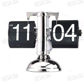"""Эксклюзивные оригинальные механические настольные часы с перелистывающимися цыфрами в стиле """"ретро"""" с схомированным корпусом, фото 1"""