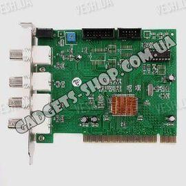 4-х канальная MPEG 4 компьютерная PCI плата видеозахвата для CCTV камер с 1 звуковым каналом (25 fps), фото 1