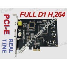 4-х канальная FULL D1 H.264 компьютерная PCI-E плата видеозахвата для CCTV камер + 4 звуковых канала (100 fps), фото 1