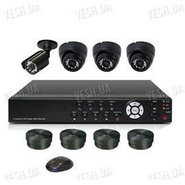Готовый 4-х камерный DIY комплект проводного видеонаблюдения для самостоятельной установки (3 внутренних купольных камеры + 1 уличная камера) (мод. KT7604AD-A Kit 2), фото 1