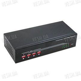 Активный 4-х канальный приёмник-усилитель видео сигнала по витой паре UTP c с расстоянии до 1000 метров, фото 1