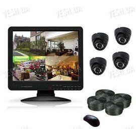 Готовый 4-х камерный DIY комплект проводного видеонаблюдения с LCD COMBO DVR регистратором-монитором для самостоятельной установки (4 внутренних купольных камеры) (мод. KT1504L KIT 1), фото 1