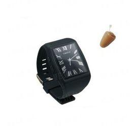Комплект для студентов и школьников для сдачи экзаменов: беспроводный микронаушник + bluetooth передатчик в виде наручных часов (модель Элита Люкс + часы), фото 1