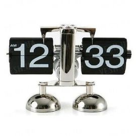 Эксклюзивные оригинальные механические настольные РЕТРО часы с перелистывающимися цифрами и хромированным корпусом (мод. CL-601), фото 1