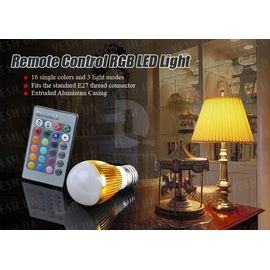 16-ти цветная LED лампа освещения 3W с изменяющимися цветами и режимами освещения + пульт дистанционного управления (модель E-27-1T), фото 1