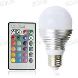 16-ти цветная LED лампа освещения 3W с изменяющимися цветами и режимами освещения + пульт дистанционного управления, фото 1