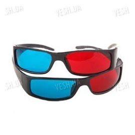 Красно - синие анаглифные облягающие 3D стерео очки в пластиковой оправе (модель 3DS), фото 1