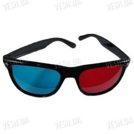 Красно - синие анаглифные классические 3D стерео очки в пластиковой оправе (модель 3DB), фото 1
