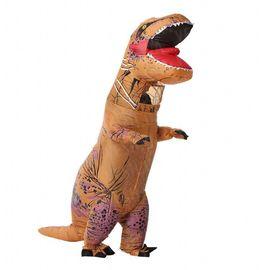 Надувной костюм Тираннозавр коричневый, фото 1